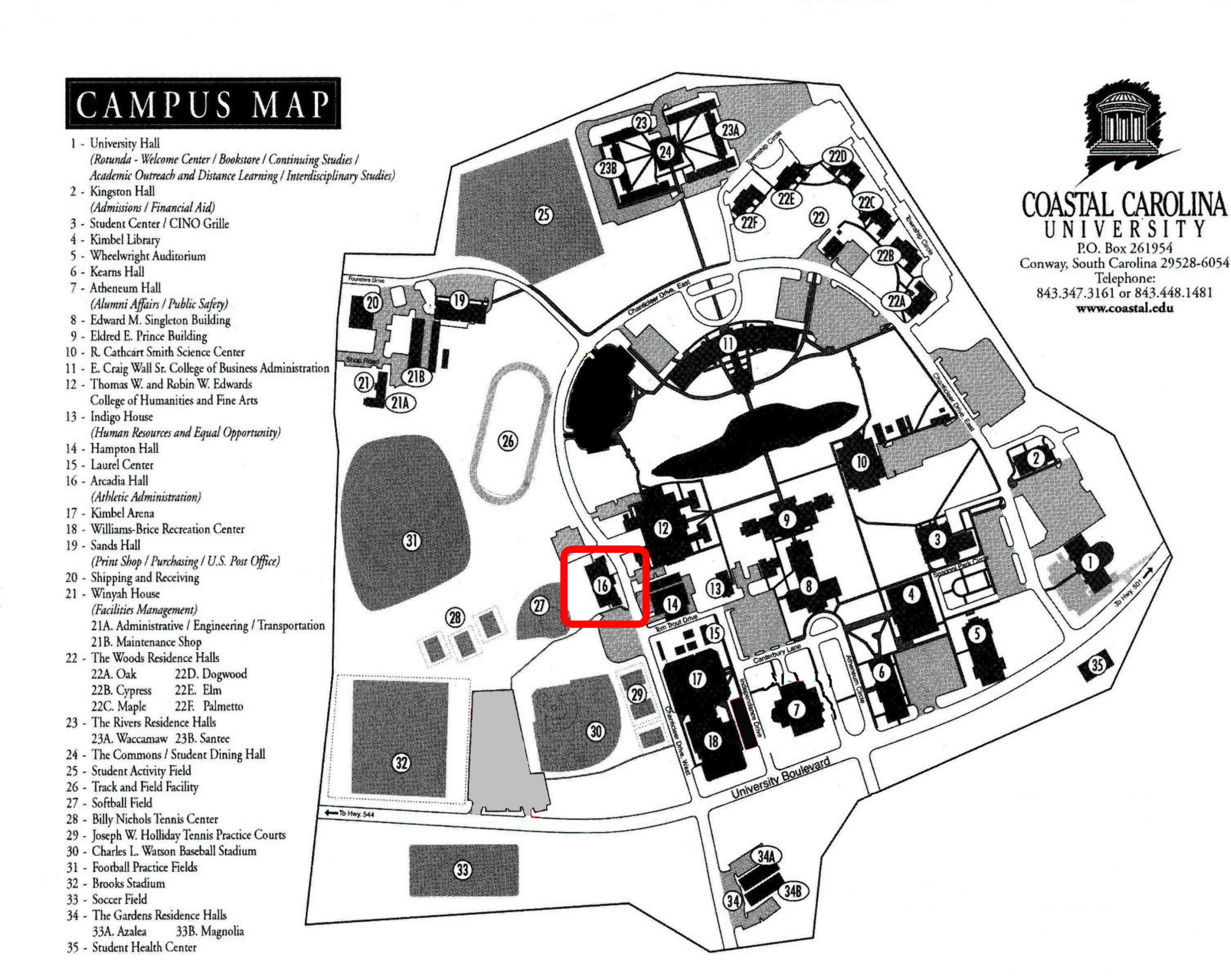 Coastal Carolina Campus Map Gadgets 2018: Ccu Campus Map